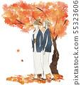 여자 여행 - 유카타 - 가을 단풍 55323606