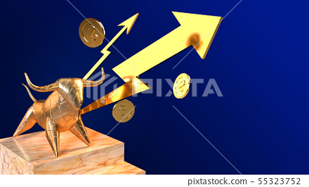 bull  gold 3d rendering for business content. 55323752