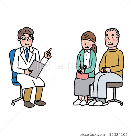 Elderly man listening to talk Doctor diagnosis diagnosis counseling illustration 55324103