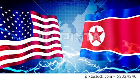 美國/朝鮮政治/經濟緊張/對抗形象橫幅 55324540