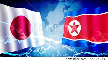 日本和朝鮮政治/經濟緊張/衝突形象旗幟(綁架問題,核發展,導彈等) 55324541