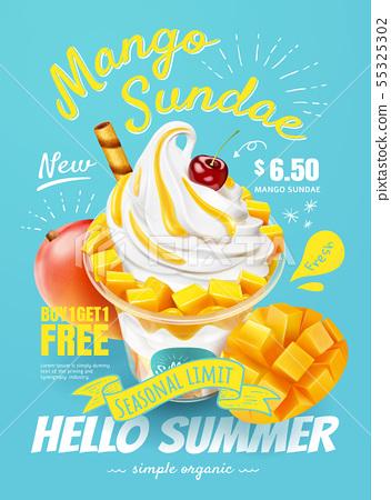 Delicious mango sundae poster 55325302