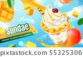Delicious mango sundae ads 55325306