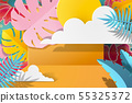 Paper tropical foliage background 55325372