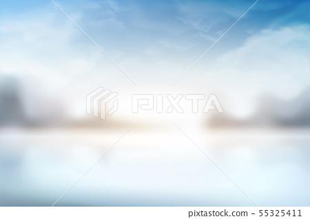 Bokeh blue sky scenery 55325411