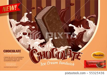 Vanilla chocolate ice cream ads 55325436