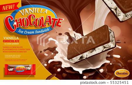 Vanilla chocolate ice cream ads 55325451