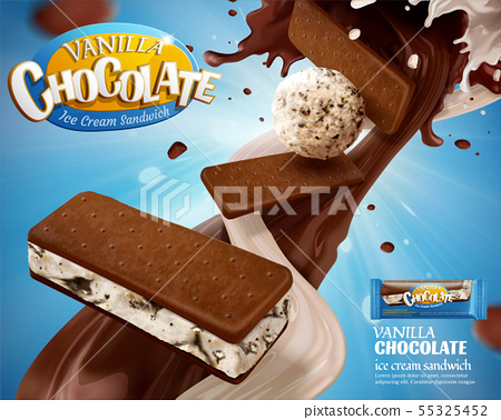 Vanilla chocolate ice cream ads 55325452