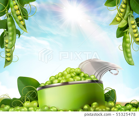 Canned young peas mockup 55325478