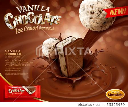 Vanilla chocolate ice cream ads 55325479