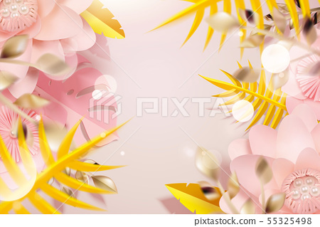 Paper flowers and tropical leaves 55325498