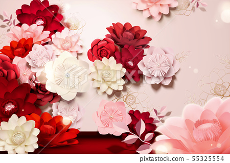 Paper flowers background 55325554