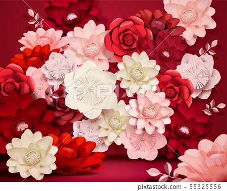 Paper flowers background 55325556