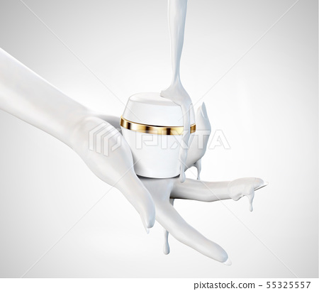 Hand holding cream jar 55325557