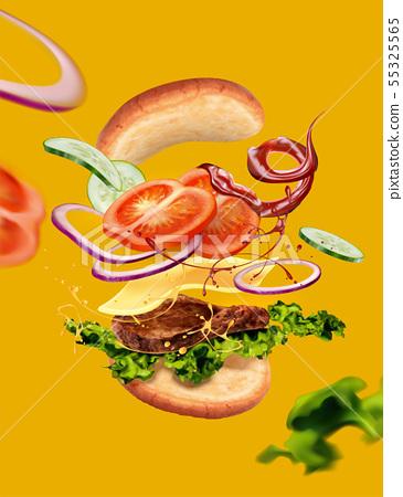 Hamburger on yellow background 55325565
