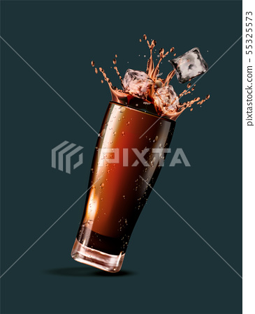 Cola with ice cubes 55325573