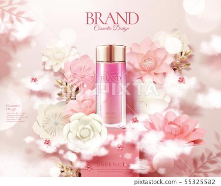 Pink skincare bottle ads 55325582