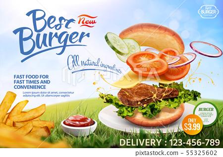Delicious hamburger ads 55325602