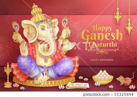 Happy Ganesh Chaturthi design 55325644