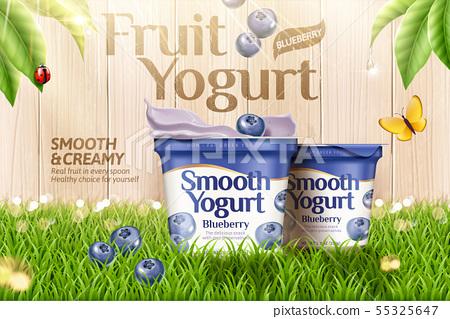 Blueberry yogurt on green grass 55325647