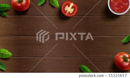 Fresh tomato and basil on table 55325657