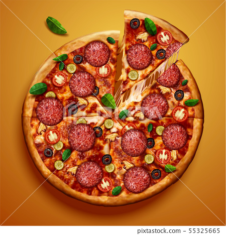 Top view of pepperoni pizza 55325665