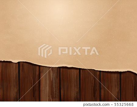 Torn kraft paper on wooden table 55325668