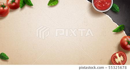 Tomato and basil on kraft paper 55325678