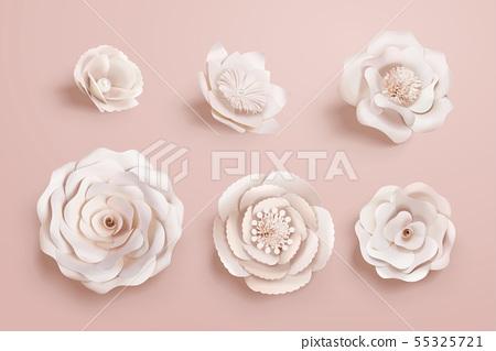 Paper camellia flowers 55325721