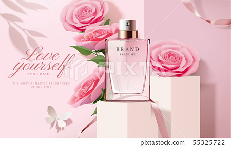 Perfume ads with paper roses 55325722