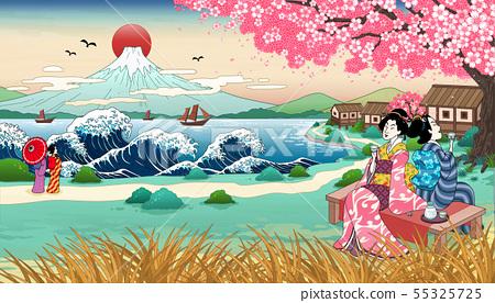 Ukiyo e style geisha under sakura 55325725