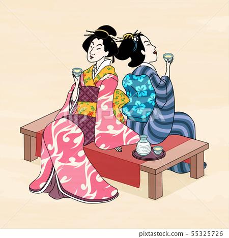 Ukiyo e style geisha enjoying sake 55325726