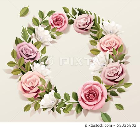 Pink paper rose wreath 55325802