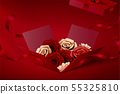 Paper roses in open gift box 55325810