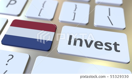 INVEST text and flag of the Netherlands on the buttons on the computer keyboard. Business related 55329330