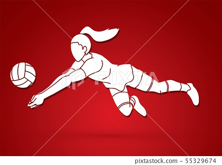 Woman volleyball player action cartoon graphic 55329674
