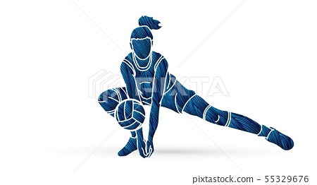 Woman volleyball player action cartoon graphic  55329676