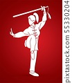 Woman with sword action, Kung Fu pose graphic  55330204
