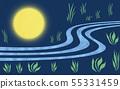 A full moon illuminating the grassland (2) 55331459