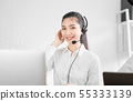 woman consultant wearing microphone headset. 55333139