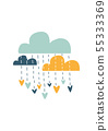 Colorful clouds, vector illustration. Print for ki 55333369