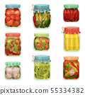 Set of cans of pickles. Vector illustration on white background. 55334382
