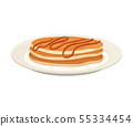 Stack of round pancakes on a plate. Vector illustration on white background. 55334454