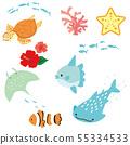 바다 생물 일러스트 세트 55334533