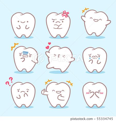 cartoon tooth do different emoji 55334745