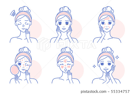cartoon woman with skin problems 55334757