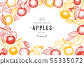 Apple branches design template. Hand drawn vector 55335072