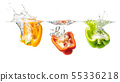 Red, yellow and green peppers halves splashing 55336218