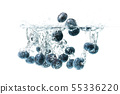 Blueberries sinking underwater with air bubbles 55336220