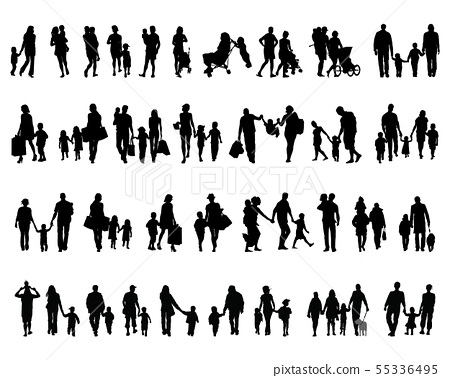 Black silhouettes of families in walking  55336495
